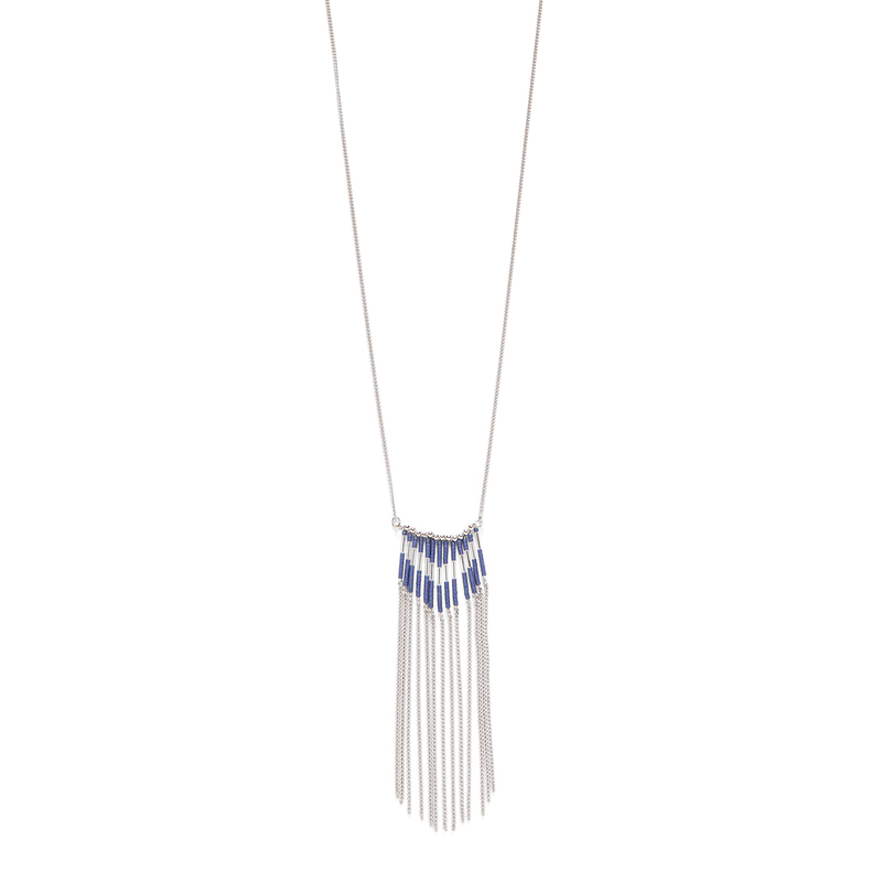 Jill Michael Silver and Navy Beaded Fringe Necklace