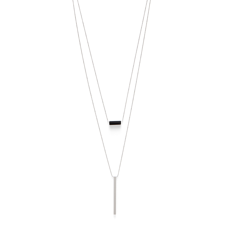 Jill Michael Silver and Black Bar Layer Necklace