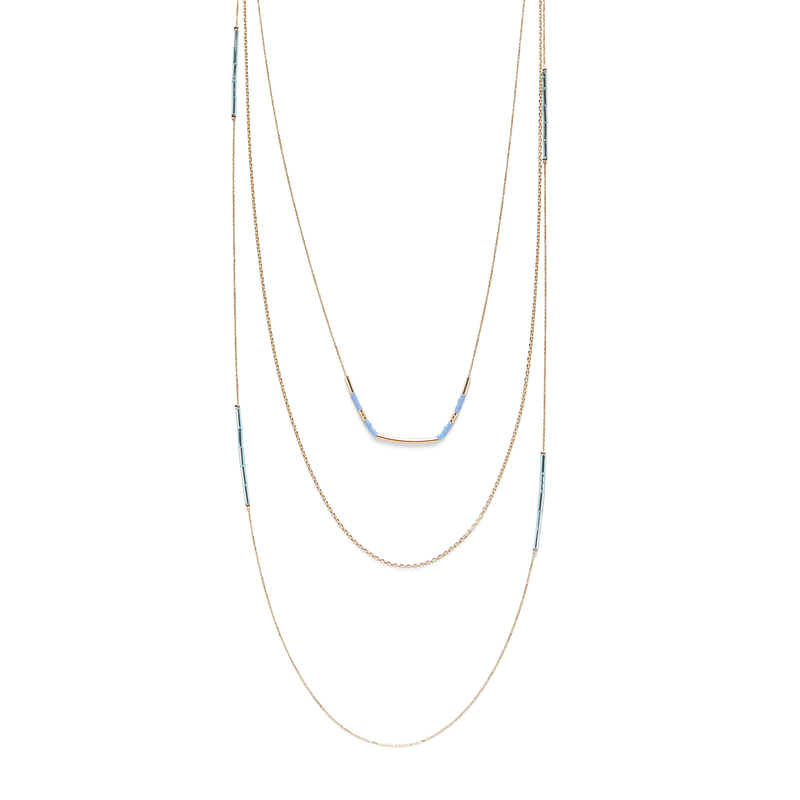 Jill Michael Gold and Blue Delicate Beaded Layer Necklace
