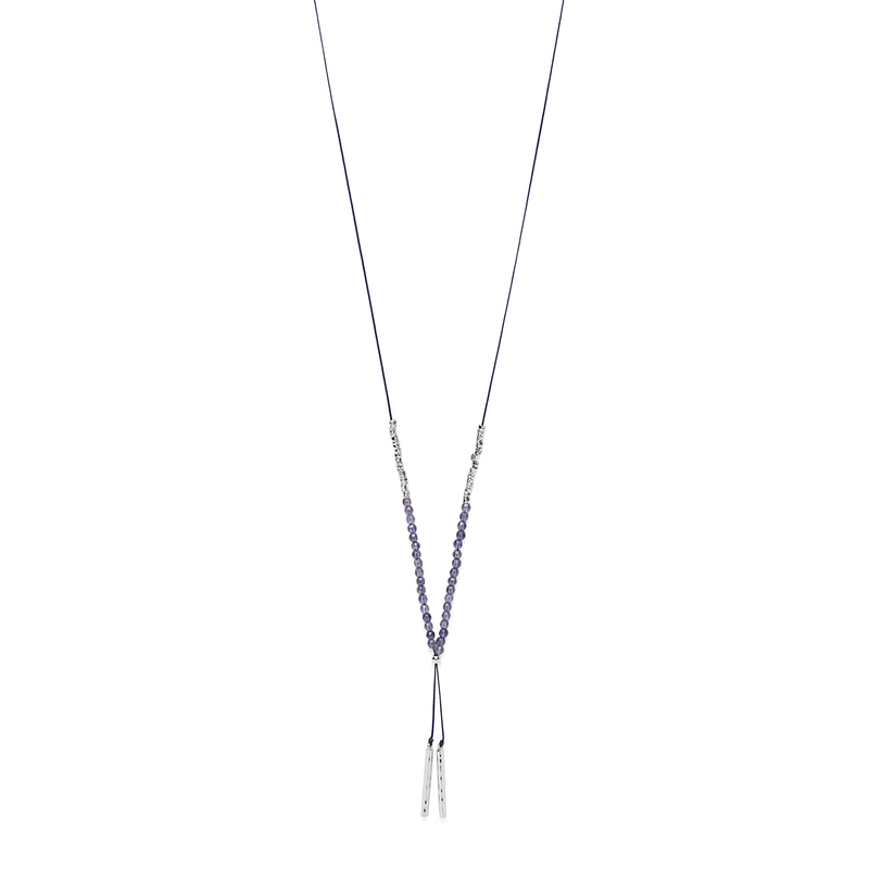 Gorjana Power Gemstone Necklace in Silver and Iolite
