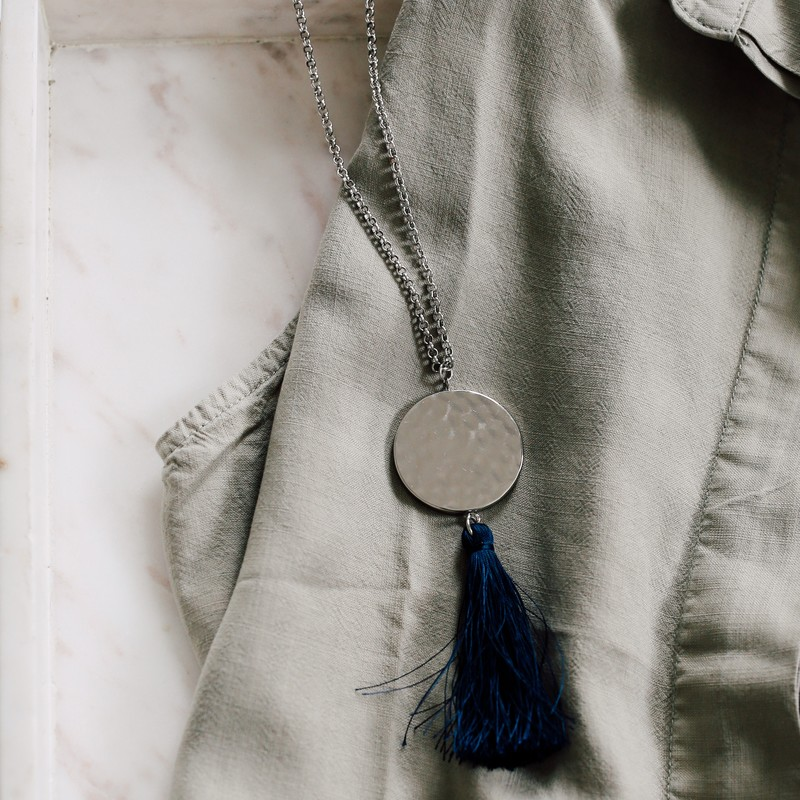 User Generated Content for Aster Frida Tassel Pendant in Silver and Navy