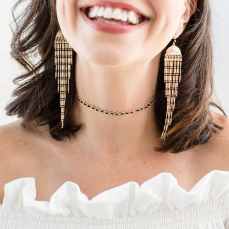 Model Content for Aster Iris Choker in Gold and Black