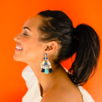 Model Content for WILDE Marrakesh Earrings in Silver and Blue