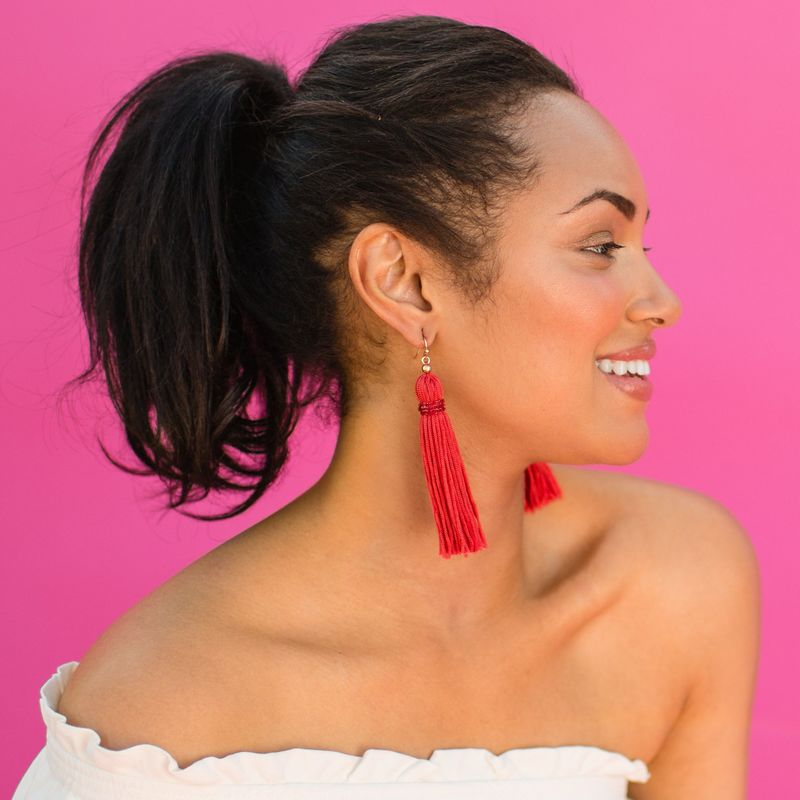 User Generated Content for Perry Street Nova Fringe Earrings in Hot Coral