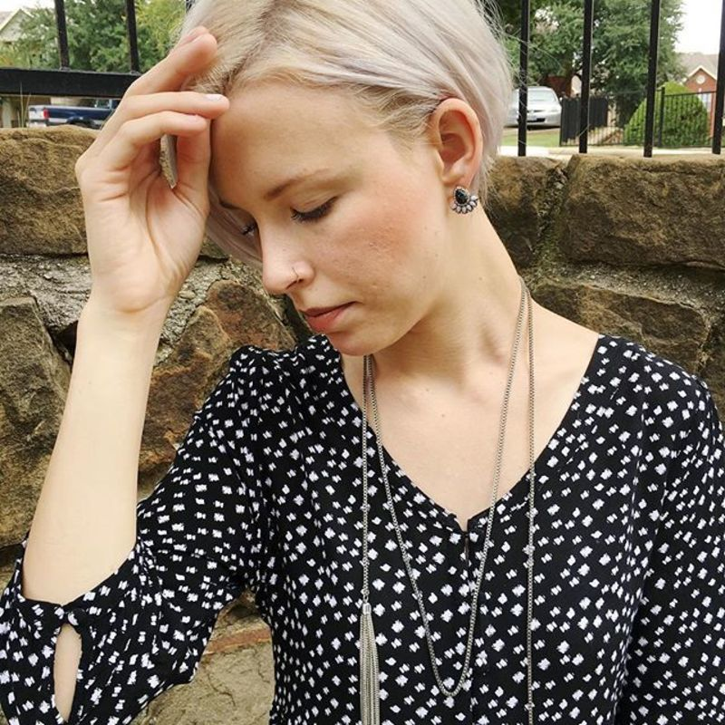 User Generated Content for Perry Street Emma Statement Studs in Black and Howlite