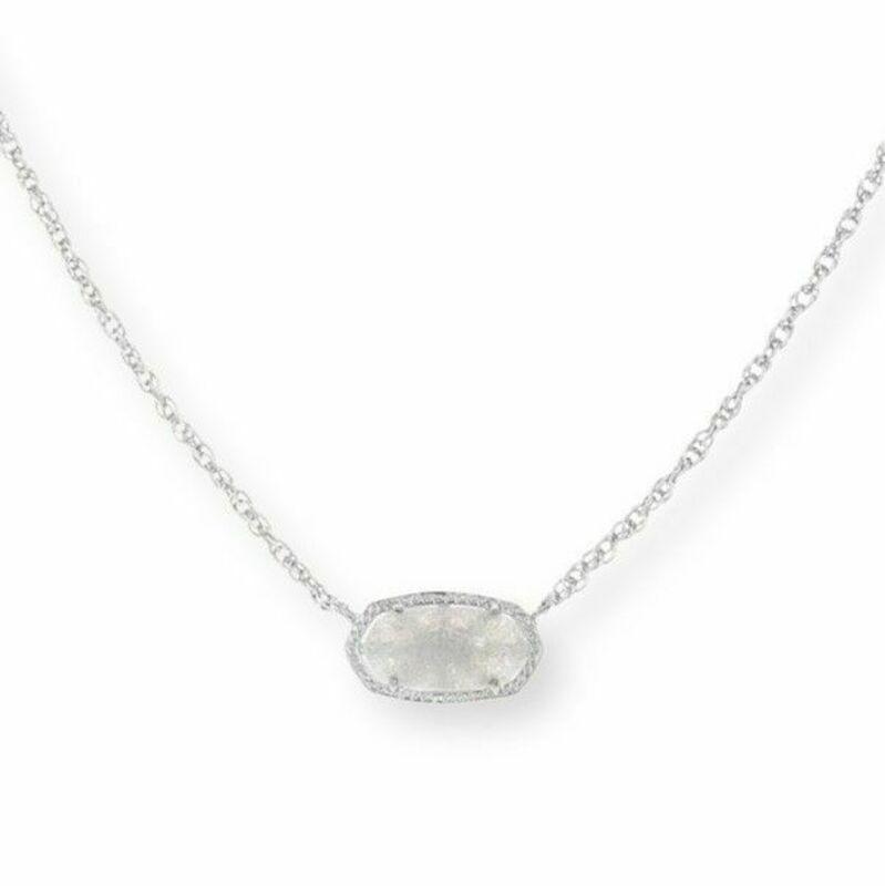 Kendra Scott Elisa Silver Necklace in Iridescent Drusy
