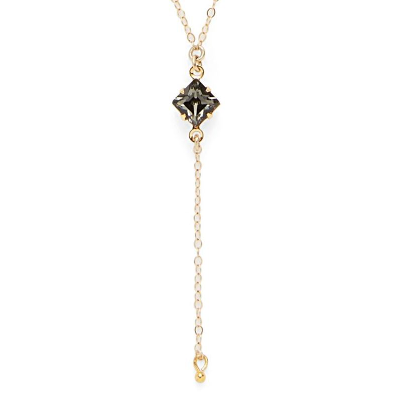 Robyn Rhodes Diamond Dangle Necklace in Black Crystal