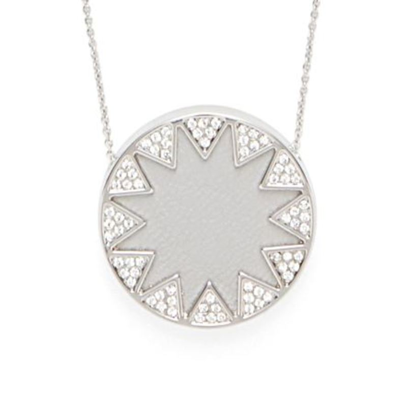 House of Harlow 1960 Medium Sunburst Necklace in Silver and Grey