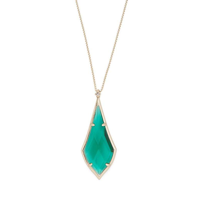 Kendra Scott Damon Long Pendant in Brass and Emerald Glass