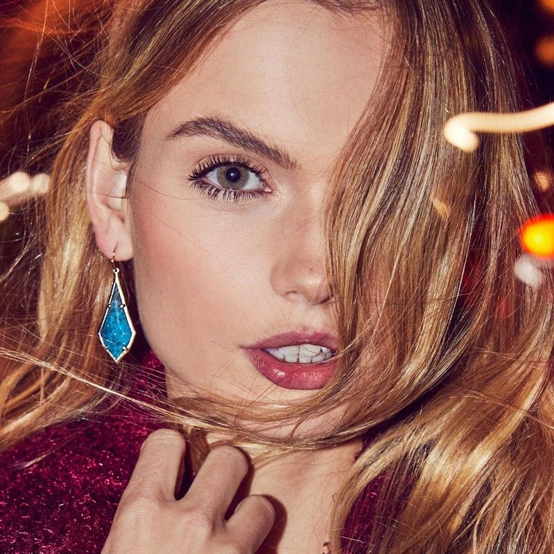 User Generated Content for Kendra Scott Olivia Earrings in Brass and Aqua Apatite