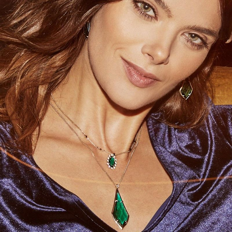 User Generated Content for Kendra Scott Damon Long Pendant in Brass and Emerald Glass