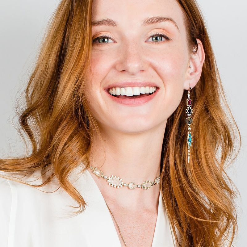 User Generated Content for Kendra Scott Leandra Shoulder Dusters in Brass Jewel Tone Mix with White Crystal