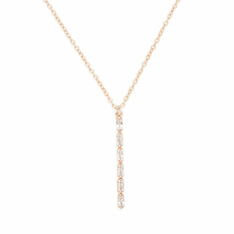 Sophie Harper Vertical Baguette Necklace in Rose Gold