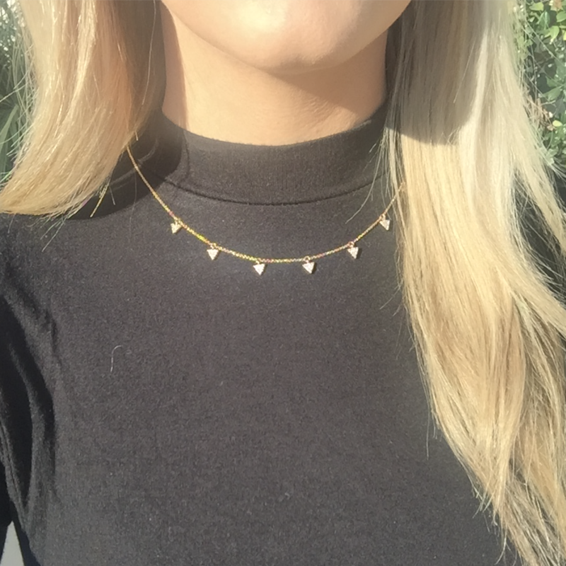 User Generated Content for Sophie Harper Triangle Pavé Charm Necklace in Gold
