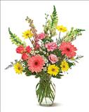 Image of The power of flowers is sure to brighten up someone's day? and this cheerful mix of gerberas, daisies, roses and more — in pastel tones of pink, yellow and white — is the perfect pick-me-up. A great ?Get Well!? gift, or just because.