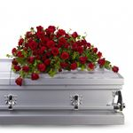 6749 - Red Rose Reverence Casket Spray US and Canada delivery.