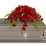 6743 - Red Rose Sanctuary Casket Spray US and Canada delivery.