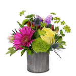 Image of Miki Summer Bouquet is a happy little bouquet of bright, assorted flowers such as gerbera, roses, dianthus and blushing bride protea tightly arranged in a corrugated tin container and finished with a faux butterfly.