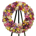 2719 - Pastel Reflections Rose Wreath San Luis Obispo, CA delivery.