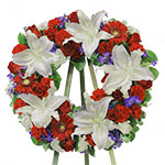 2720 - Crimson & White Wreath Lompoc, CA delivery.