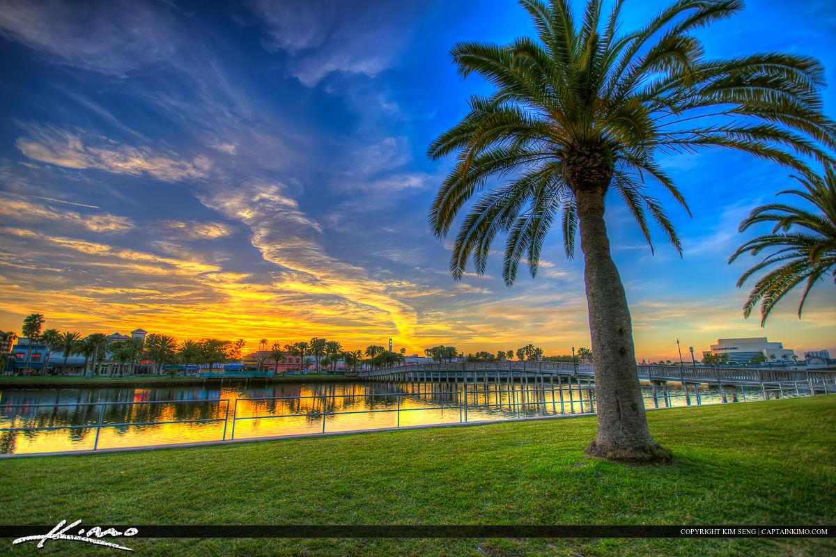 Daytona Beach Florida Sunset Halifax River Royal Stock Photo