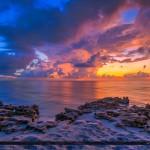 Beach Sunrise Over the Rocks in Tequesta Florida