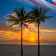 Beauitful sunrise today for the Fourth of July from Singer Island Beach with coconut palms. HDR image created in Photomatix Pro HDR software.