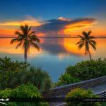 IIndian Riverside Park Sunrise at Boardwalk along the Lagoon
