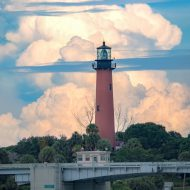 Beautiful clouds behind the Jupiter Lighthouse in Palm Beach Cou