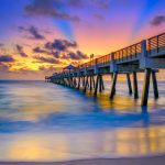 Juno Beach Pier Early Morning Colors Smooth Water