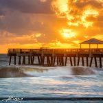 Juno Beach Pier Sunrise Wave Square