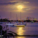 Full Moon Rise Watson Island Marina Miami Florida