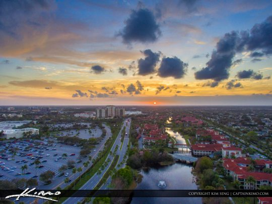 Palm Beach Gardens Sunset Aerial Over Gardens Parkway