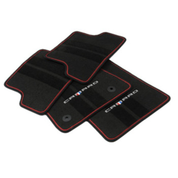 Floor Mats Carpet Front and Rear (Black w/Red Binding w/Logo)