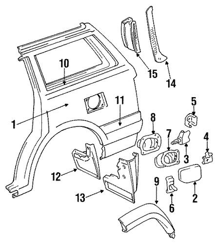 genuine oem quarter panel parts for 1994 toyota land