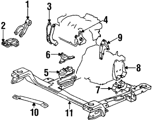 engine  u0026 trans mounting for 2002 oldsmobile silhouette