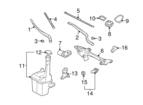 wiper  u0026 washer components for 2005 toyota avalon