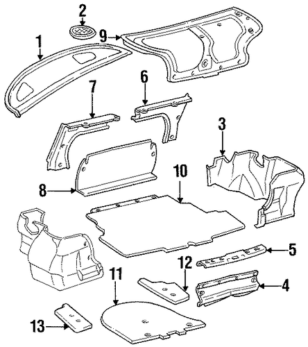 genuine oem interior trim - rear body parts for 1996 toyota corolla dx