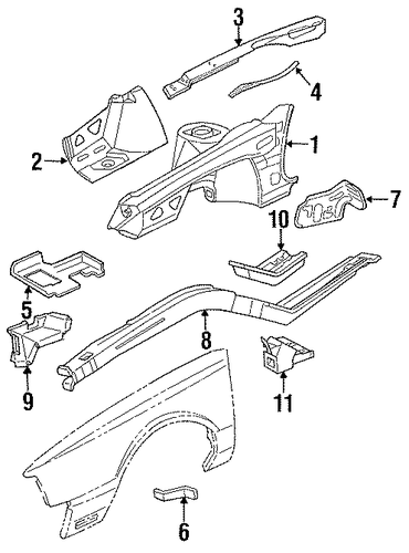 oem inner structure  u0026 rails for 1993 cadillac deville