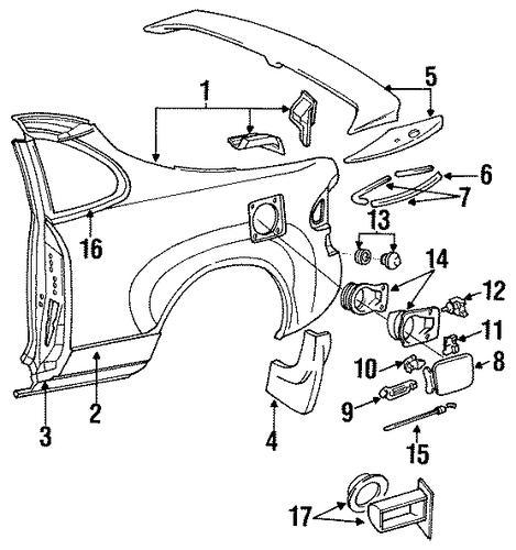 Toyota Celica Gt St 1994 Rear Inner Lower: FUEL DOOR For 1991 Toyota Celica