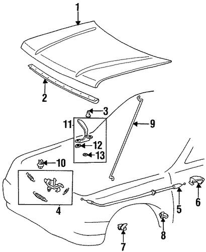 hood  u0026 components for 1996 toyota t100