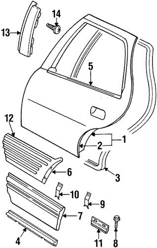 oem door  u0026 components for 1997 pontiac grand am