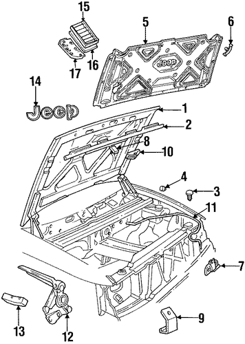 hood  u0026 components for 1996 jeep grand cherokee