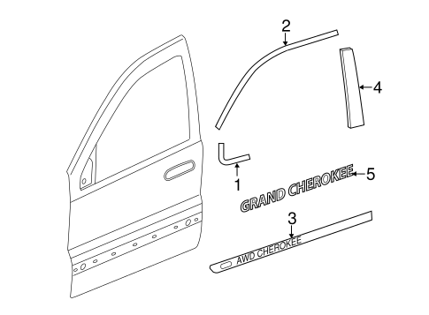 Exterior Trim Front Door For 2011 Jeep Grand Cherokee