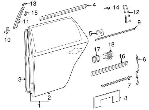 Exterior trim rear door for 2001 mercedes benz e320 for Mercedes benz exterior parts