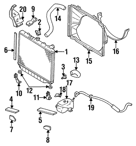 RADIATOR SEAL MOUNT BRACKET - 1995 Honda PASSPORT (8972253481)
