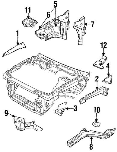 oem structural components  u0026 rails for 1997 pontiac grand