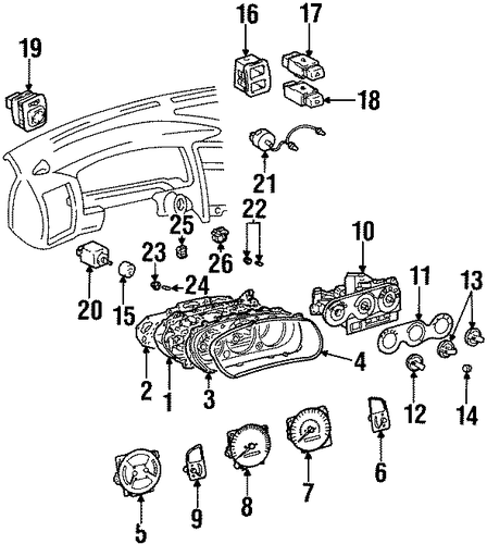 cluster  u0026 switches for 1998 chevrolet prizm