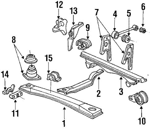 1987 Honda ACCORD SEDAN LX REAR CROSSMEMBER - (50200SE0A54)
