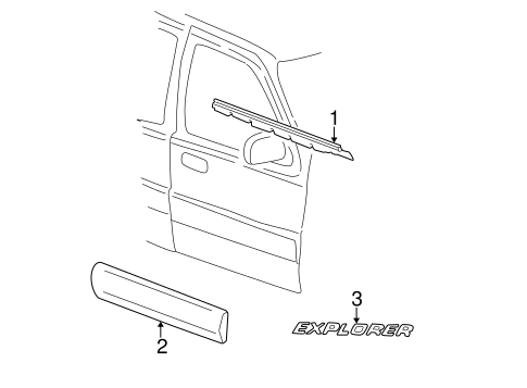 Exterior Trim Front Door For 2002 Ford Explorer Sport Trac
